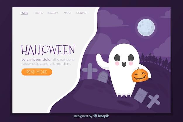 Página de inicio de halloween plana con fantasma