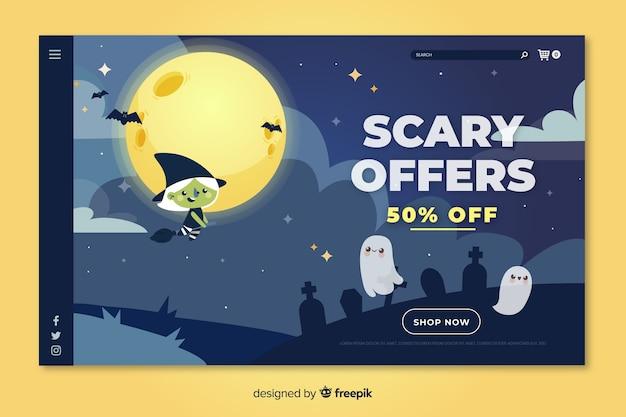 Página de inicio de halloween plana ofertas festivas de miedo