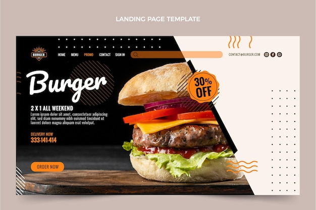 Página de inicio de hamburguesa plana