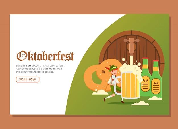 Página de inicio del hombre que sostiene un vaso de cerveza enorme con otras cosas para celebrar el evento oktoberfest