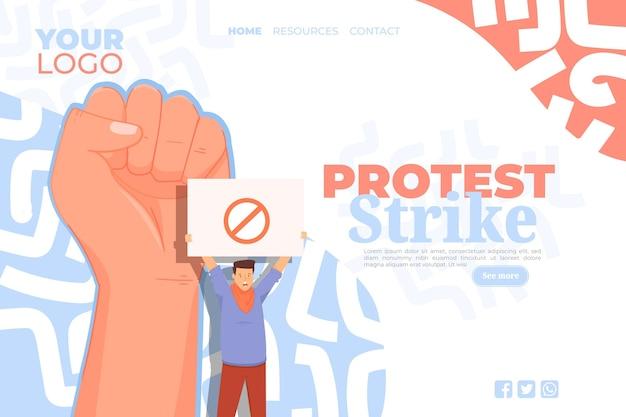Página de inicio de huelga de protesta
