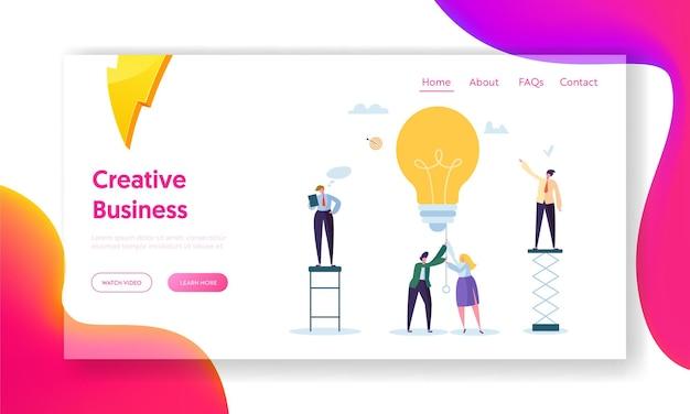 Página de inicio de idea creativa de hombre de negocios.