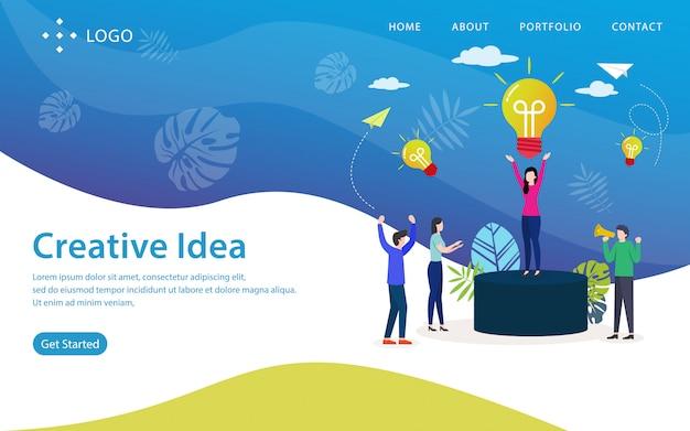 Página de inicio de idea creativa, plantilla de sitio web, fácil de editar y personalizar, ilustración vectorial