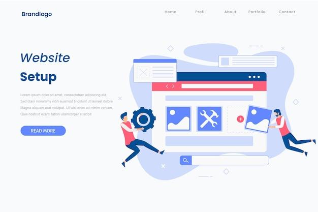 Página de inicio de ilustración de configuración de sitio web de diseño plano.