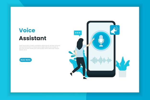 Página de inicio de ilustración de control de asistente de voz