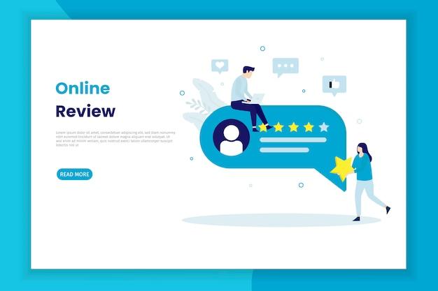 Página de inicio de ilustración de revisión en línea