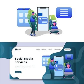 Página de inicio de ilustración de servicios de redes sociales