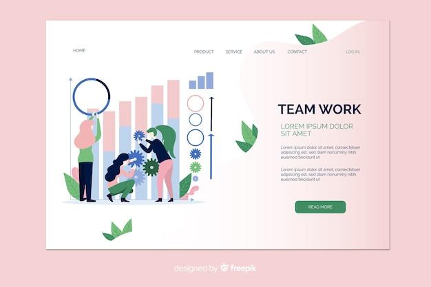 Página de inicio de ilustración de trabajo en equipo