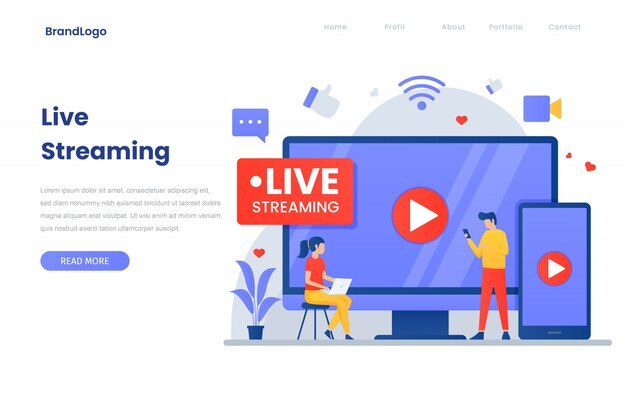 Página de inicio de ilustración de transmisión en vivo