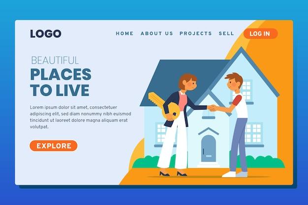 Página de inicio ilustrada de bienes raíces