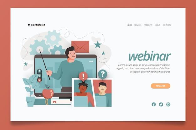 Página de inicio ilustrada del seminario web