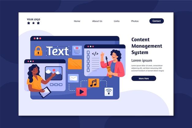 Página de inicio ilustrada del sistema de gestión de contenido
