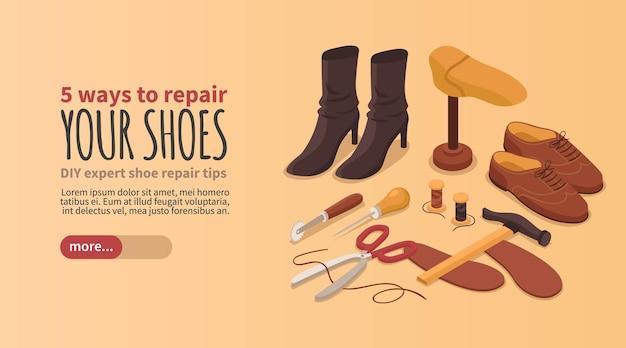 Página de inicio de información de consejos de boutique de reparación de calzado