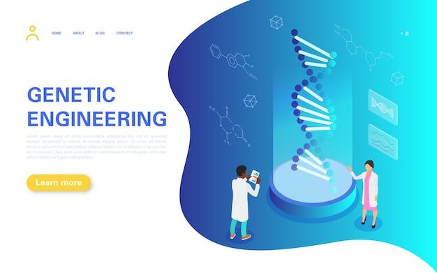 Página de inicio de ingeniería genética. gente diminuta estudia la estructura del adn.
