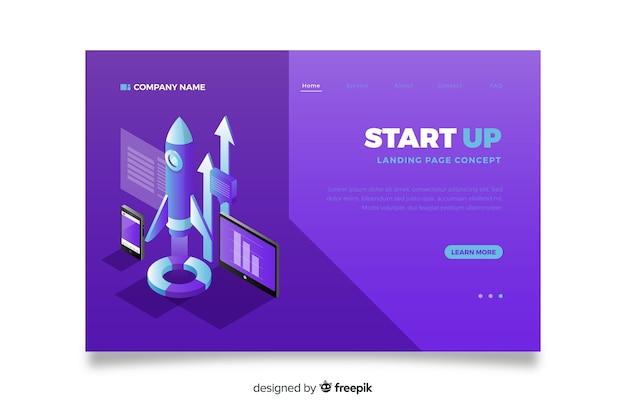 Página de inicio para inicio en diseño isométrico