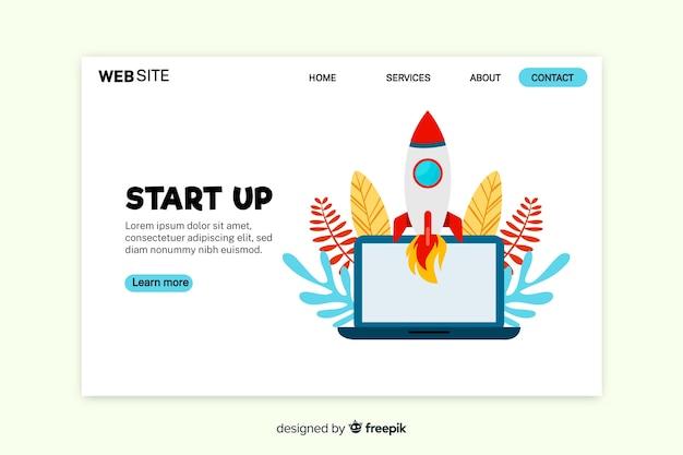 Página de inicio de inicio con laptop y cohete
