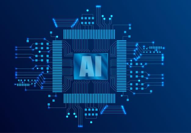 Página de inicio de inteligencia artificial (ai). plantilla de sitio web para el concepto de aprendizaje profundo.