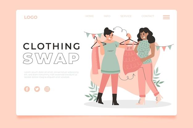 Página de inicio de intercambio de ropa dibujada a mano plana