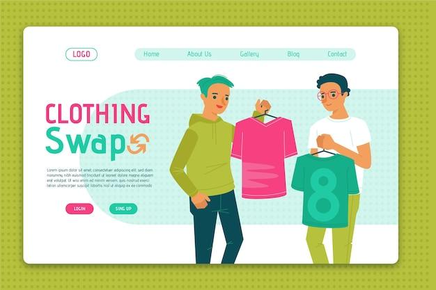 Página de inicio de intercambio de ropa plana