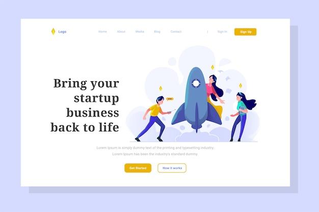 Página de inicio de interfaz de usuario inicio de negocios lanzamiento de fecha de cohete configuración de desarrollo de estilo plano ilustración