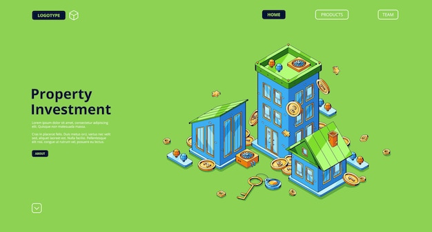Página de inicio de inversión inmobiliaria con casas isométricas, dinero y llave.