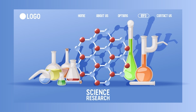 Página de inicio de investigaciones científicas de laboratorio cristalería científica para educación química. concepto de equipo de experimento de sitio web médico.