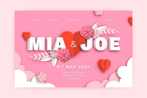 Página de inicio de invitación de boda
