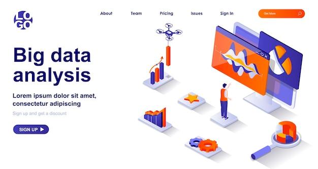 Página de inicio isométrica 3d de análisis de datos grandes con personajes de personas