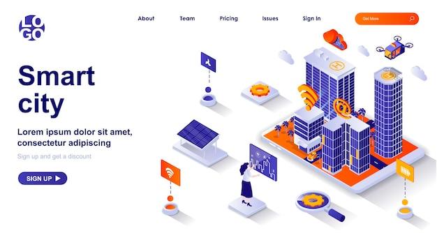 Página de inicio isométrica 3d de ciudad inteligente con personajes de personas