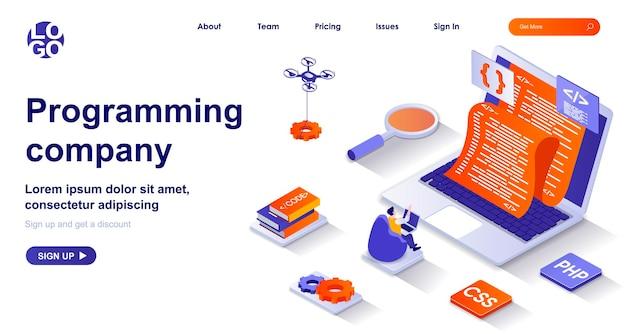 Página de inicio isométrica 3d de la empresa de programación con personajes de personas