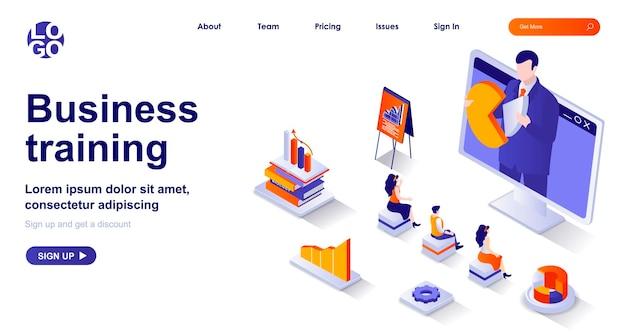 Página de inicio isométrica 3d de formación empresarial con personajes de personas