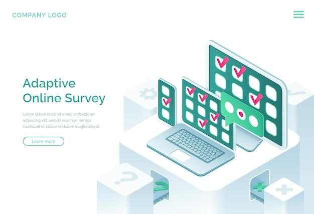 Página de inicio isométrica adaptativa de la encuesta en línea