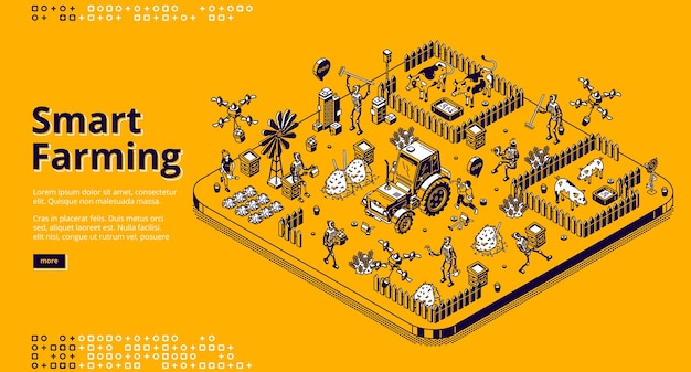Página de inicio isométrica de agricultura inteligente con robots y personas que trabajan en una granja o campo, cyborgs alimentando ganado, cosechando. agricultura de aldea automatizada, cría de animales banner web de arte de línea 3d