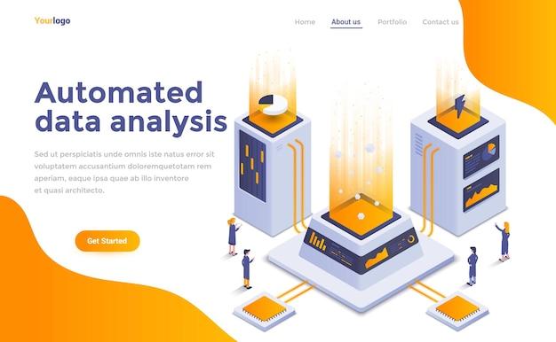 Página de inicio isométrica de análisis de datos automatizado