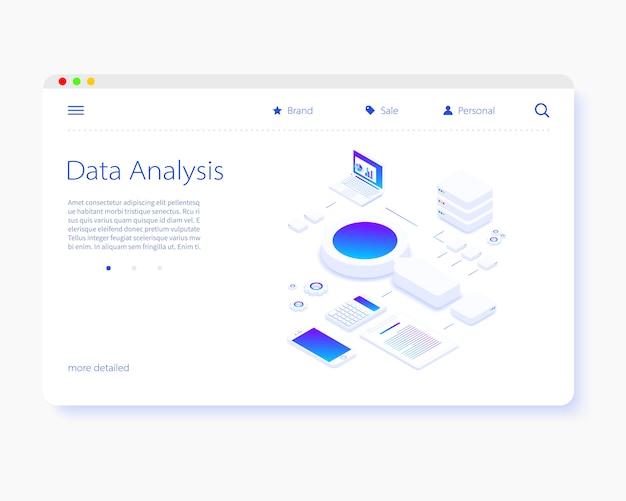 Página de inicio isométrica de análisis de datos