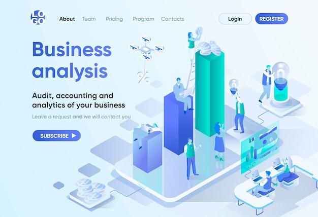 Página de inicio isométrica de análisis empresarial. servicio profesional de auditoría, contabilidad y análisis. plantilla de empresa de consultoría para cms y creador de sitios web. escena de isometría con personajes de personas.