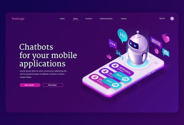 Página de inicio isométrica de la aplicación chatbot móvil, aplicación para mensajería sms