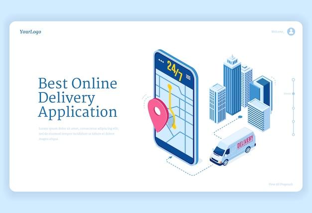 Página de inicio isométrica de la aplicación de entrega en línea.