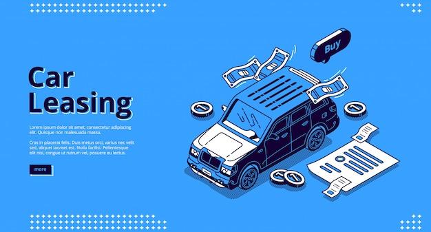 Página de inicio isométrica de arrendamiento de automóviles, arrendamiento de automóviles o servicio de alquiler.