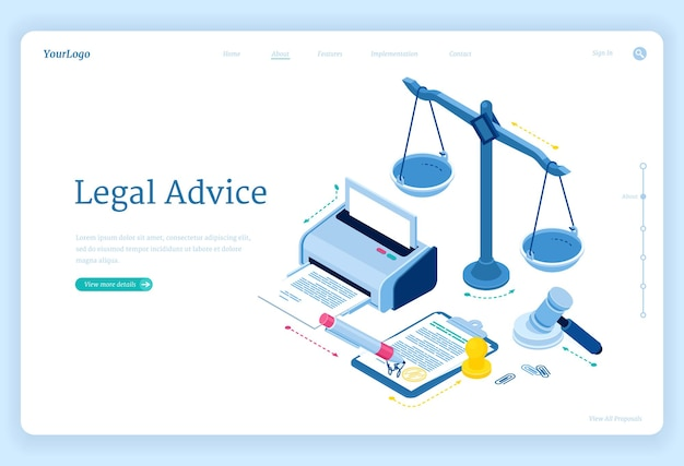 Página de inicio isométrica de asesoramiento legal