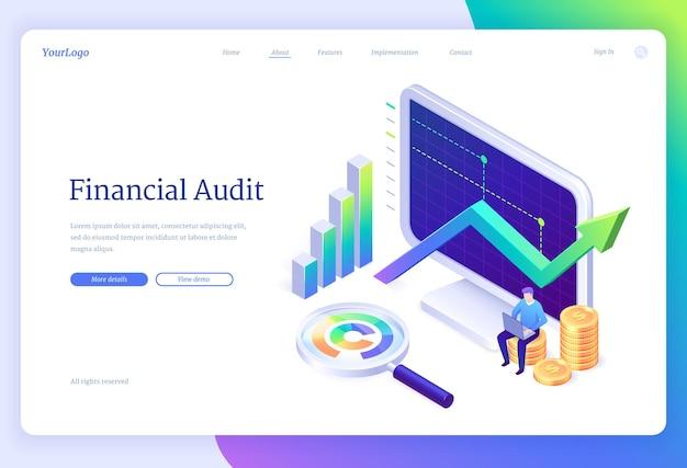 Página de inicio isométrica de auditoría financiera o banner web
