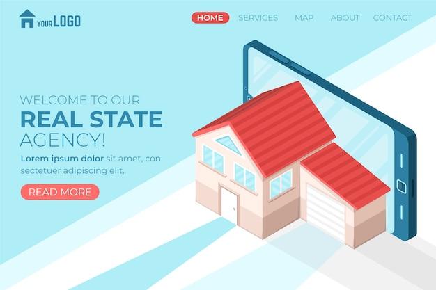 Página de inicio isométrica de bienes raíces