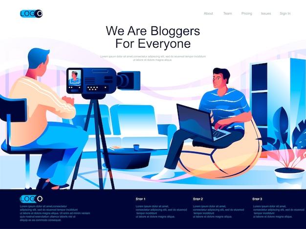 Página de inicio isométrica de bloggers con situación de personajes planos