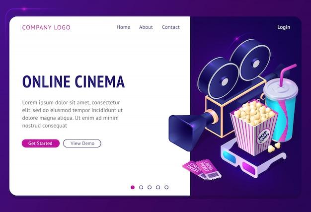 Página de inicio isométrica de cine en línea, aplicación de internet
