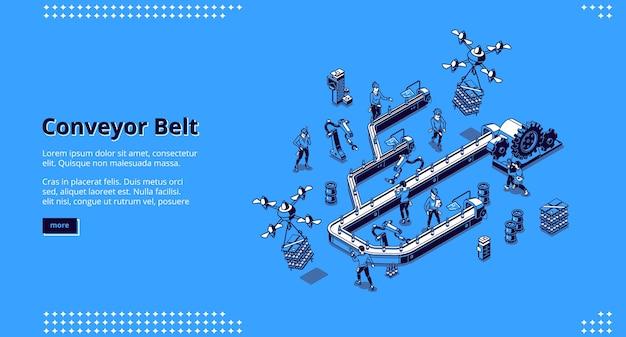 Página de inicio isométrica de la cinta transportadora, flujo de trabajo de fábrica inteligente.