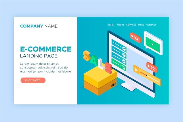 Página de inicio isométrica de comercio electrónico