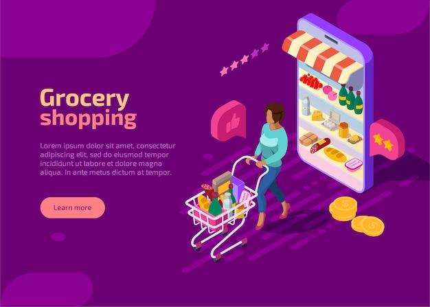 Página de inicio isométrica de compras de comestibles, banner web púrpura. concepto.