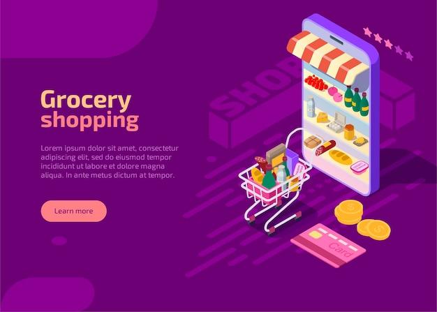 Página de inicio isométrica de compras de comestibles