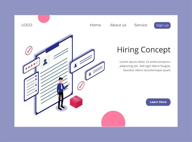 Página de inicio isométrica del concepto de contratación