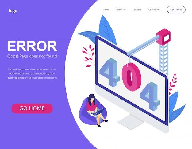 Página de inicio isométrica del concepto de error 404